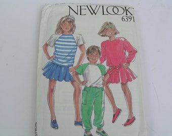 Vintage New Look Pattern 6391 Top T-Shirt Skirt Trousers