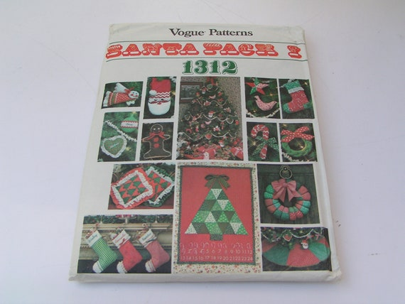Vintage Vogue Pattern 1312 Santa Pack I Christmas Accessories