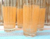 Vintage Set of 4 Mid Century Salmon Tumblers/ Drinking Glasses