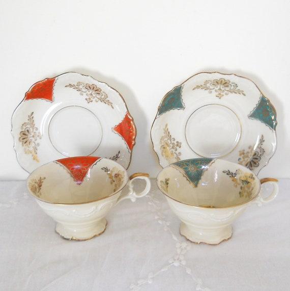 vintage tea cups, porcelain teacups, german porcelain, tea cups and saucers, shabby chic, cottage chic