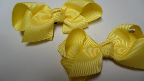 Hair Bow Clips Barrettes for Girls - Bright Lemon Yellow