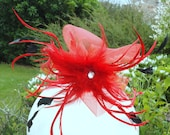 Dog collar.Red and  black feather Wedding or Party collar with net bows and faux white gem centre. piece. 10 to 11 inch black leather