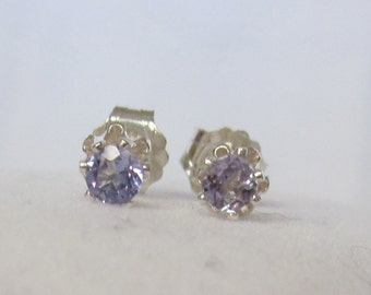 Sweet Tanzanites in Sterling Silver Buttercup Post Settings