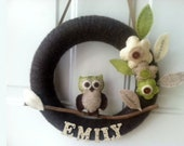 12 Inch Owl On A Branch Wreath Customized With Name On wooden Letters And Felt Flowers And Leaves