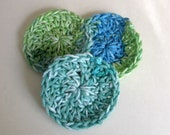 Crocheted Face/Dish Scrubbies-blue and green