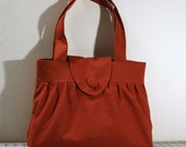 Pleated Handbag with Flap Closure in Burnt Orange