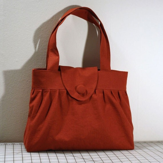 Pleated Handbag with Flap Closure in Burnt Orange