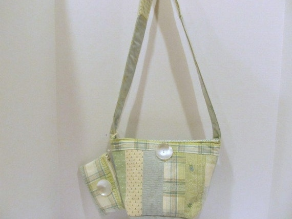 Blue and Green Pieced Handbag with Matching Coin Purse