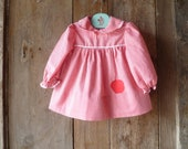baby dress // red & white gingham check with apple applique // size 18-24 months, 2T