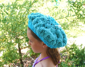 Blue Crochet Hat, Beanie Hat, Women Blue Tam, Autumn Fashion Hat, Summer Hat, Crochet Beanie, Winter Beanie, Snow Hat, Textured Cap
