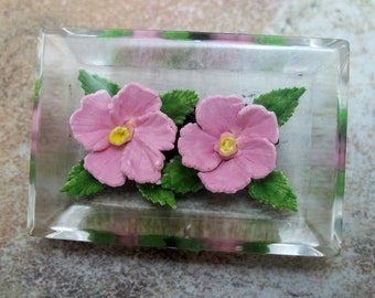 Lucite Reverse Carved Pink Roses Brooch Pin