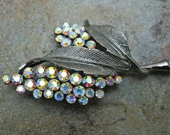 Aurora Borealis Japanned metal leaf brooch pin