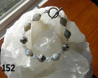 Large Labradorite rounds with swarovski crystals and large Ornate Pewter beads Bracelet