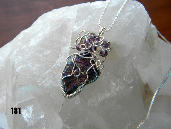 Chalco Pyrite (peacock ore) stone wire wrapped with crystals on a silver plated box chain pendant.