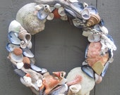 Maine Seashell, Sea Glass, Driftwood and Fishing Rope Wreath