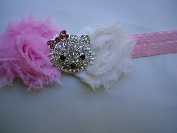 Hello Kitty Light Pink Elastic Headband with Pink and White Chiffon Flowers
