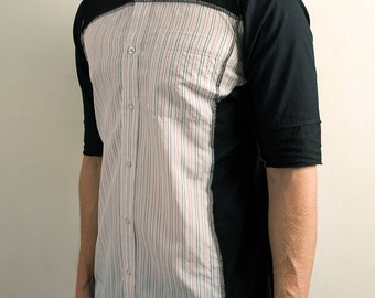 Patchwork buttoned shirt in Black & White Pinstripe
