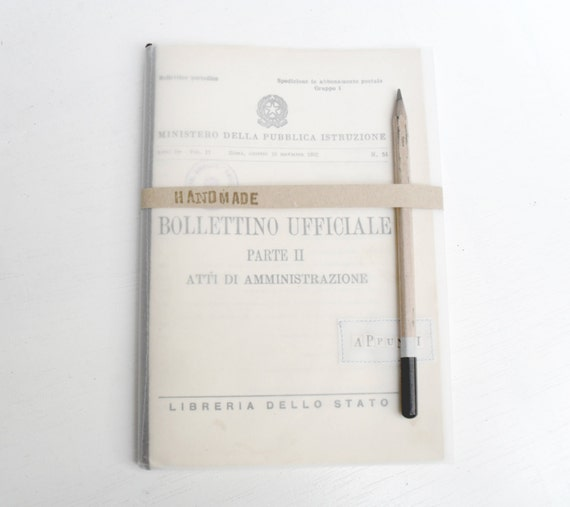 "30% OFF - Journal or Notebook recycled from italian Public Education's publishings- ""Back in my days"""