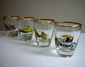 Set of Four Vintage 1950's Shot Glasses featuring Vintage Cars