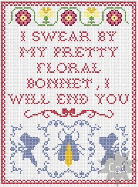 Firefly captain mal quote cross stitch sampler by