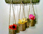 Hanging Flower Pot, Hanging Air Plant Holder,  Wood Planter, Succulent Planter, Decorative Planter, Patio Planter