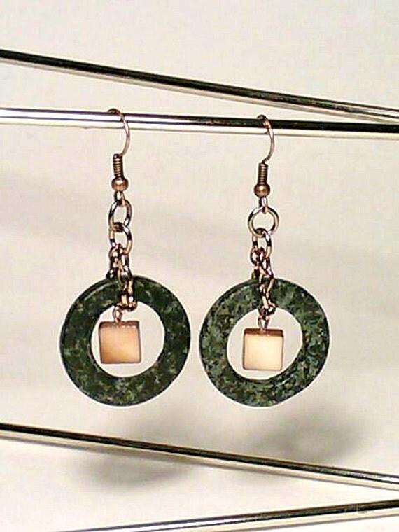 Earrings, Black Earrings, Hoop Earrings, Amber Earrings