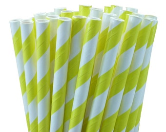 Bright Yellow and White Striped Paper Straws