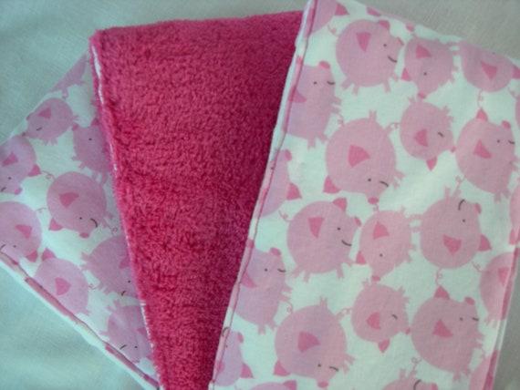 Burp Cloths - Pink Pig Toss &  Fuchsia Eyelash Minky (Set of 3)