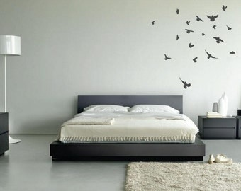 Flock of Birds Flying Angry Pigeon Wall Nursery Decal Highly Detailed 30 Birds 1169 (Choose Color)