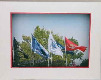 photo card, flags, patriotic, military, USA