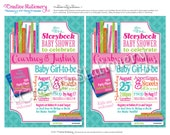 Storybook Shower Invitations. Pink, Lime Green, Teal with fun pattern and book designs. Customized just for you.