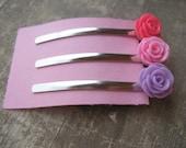 set of 3 bobby pins,flower cabochon bobby pin