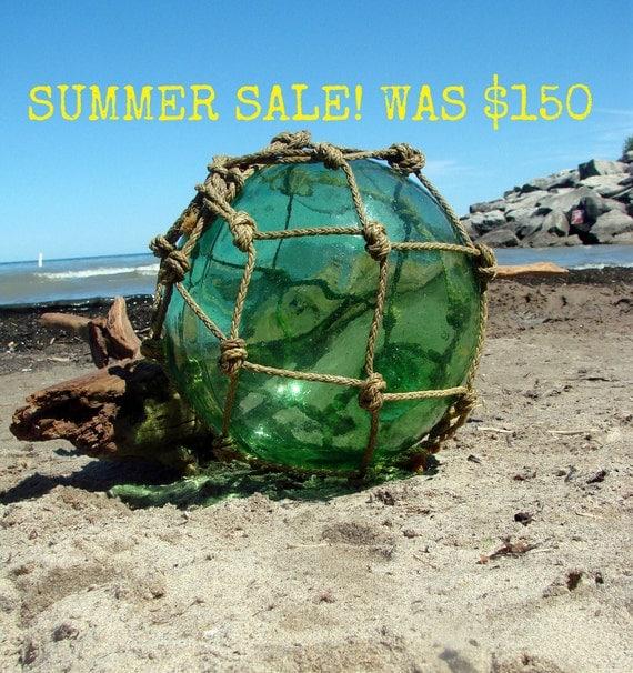 SUMMER SALE 33'' Antique Japanese Blown Glass Buoy-Float