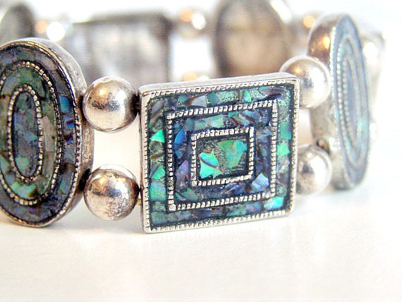 Gorgeous Vintage Abalone and Silver Stretch Bracelet