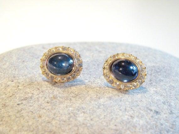 Stunning 1960's Rhinestone Sapphire Blue Glass Cabochon