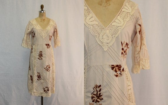 Extra Large XL Vintage Mexican Dress Peekaboo Lace w Pin Tucks and Embroidery