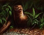 Print 8x10 - River Otter Painting Fine Art Wildlife North American Lake Art