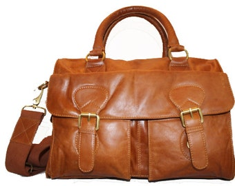 The perfect Genuine Leather Mini Duffle Bag in Tobacco