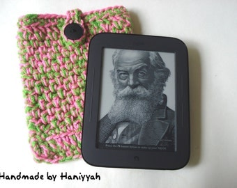 Nook Simple Touch cover or Kindle cover - Case Sleeve Jacket Bag - Pink and Green