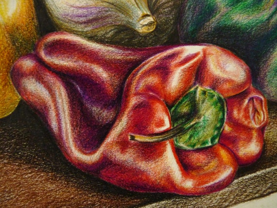 The Allotment, Original Pencil Drawing by Lucy Beevor, Aubergine, Peppers and Garlic