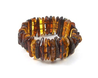 Authentic Baltic Amber Bracelet Multi color Mixed Beads Stretch