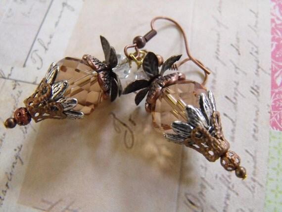 Handmade EARRINGS copper plated Swavorski Crystals