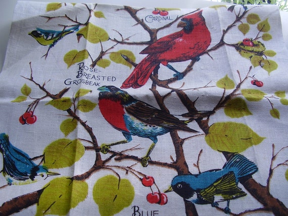 SALE  Vintage 1960s, 70s Kitchen Towel Linens Birds Sewing Craft Project