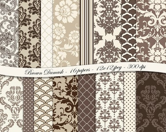 Brown Damask digital scrapbooking paper pack -16 printable jpeg papers, 12x12, 300 dpi - instant download