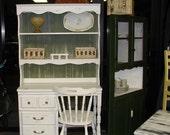 French Country Romantic Three Piece Desk/Hutch Green & White
