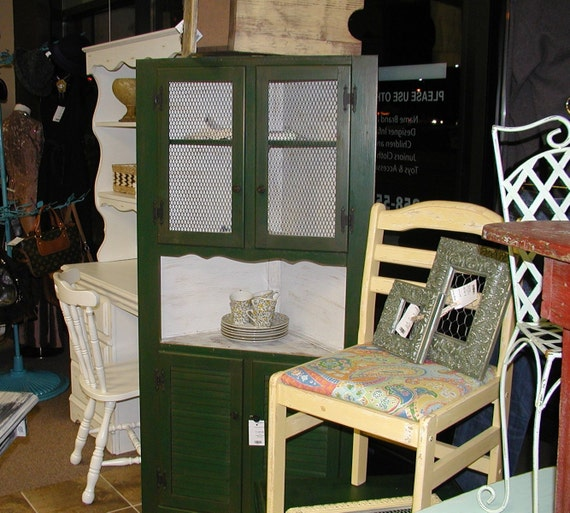 French Country Vintage Rustic Hunter Green & White Corner Hutch