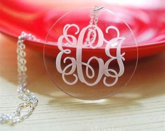 round engraved monogram acrylic necklace
