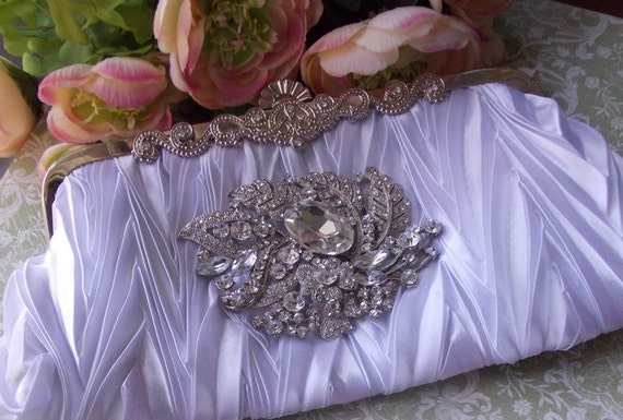 SALE- Old Hollywood Style Rhinestone and Satin Clutch. Wedding, Special Occasion
