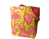 Reversible Tote Bag -- Pink and Yellow Mod Flowers