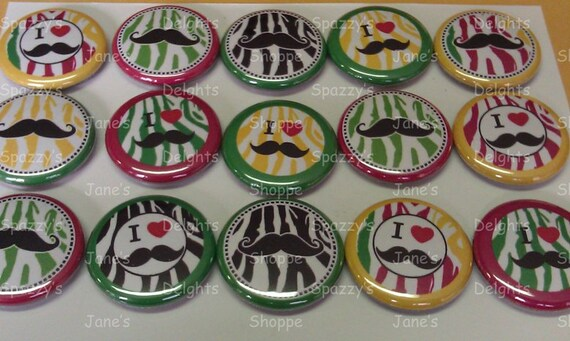 I Heart Mustache Zebra Animal Print Pinback / Flatback / Hollowback Buttons. Assorted Set of 15 (1inch / 25mm) Party Favors & DIY Projects